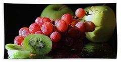 Beach Towel featuring the photograph Apples, Grapes And Kiwi  by Angela Murdock