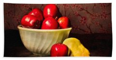 Apples In Bowl With Pear Beach Towel