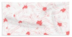 'apricot And White Flower Abstract 2' Beach Towel