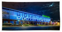 April 2015 -  Birmingham Alabama Baseball Regions Field At Night Beach Towel by Alex Grichenko