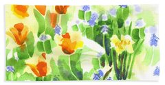 Beach Towel featuring the painting April Flowers 2 by Kip DeVore