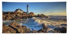 Beach Towel featuring the photograph April Morning At Portland Head by Rick Berk