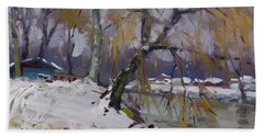 April Snow Storm Beach Towel