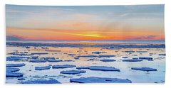 April Sunset Over Lake Superior Beach Sheet