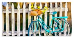 Aqua Antique Bicycle Along Fence Beach Sheet