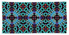 Aqua Geometric Mandala Beach Sheet