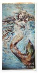 Aqua Mermaid Grunge Beach Towel by Linda Olsen