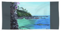 Aqua Passage Beach Sheet by Judy Via-Wolff