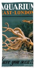 Aquarium Octopus Vintage Poster Restored Beach Towel