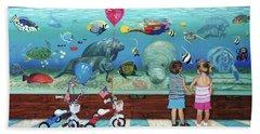 Aquarium With Twins Towel Version Beach Sheet