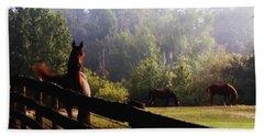 Arabian Horses In Field Beach Towel by Debra Crank
