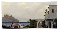 Beach Towel featuring the painting Aragonese's Castle - Island Of Ischia by Rosario Piazza