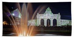 Beach Towel featuring the photograph Arcade Du Cinquantenaire Fountain At Night - Brussels by Barry O Carroll
