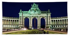 Beach Towel featuring the photograph Arcade Du Cinquantenaire At Night - Brussels by Barry O Carroll