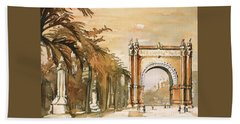 Beach Sheet featuring the painting Arch- Barcelona, Spain by Ryan Fox