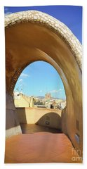Beach Towel featuring the photograph Arch On The Rooftop Of The Casa Mila by Colleen Kammerer