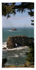 Beach Sheet featuring the photograph Arch Rock View by Marie Neder