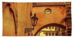 Beach Towel featuring the photograph Arch Way In Old Town. Series Golden Prague by Jenny Rainbow