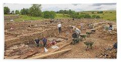 Archaeologists At Work At Roman Vindolanda Beach Sheet