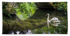 Arched Bridge And Swan At Doneraile Park Beach Towel