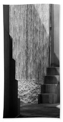 Architectural Waterfall In Black And White Beach Towel