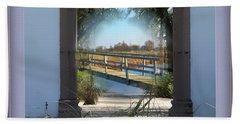 Archway To Wooden Bridge Montage Beach Sheet
