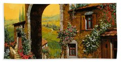 Beach Towel featuring the painting Arco Di Paese by Guido Borelli
