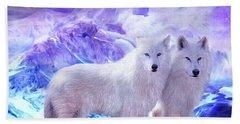 Arctic Wolf Mates Beach Towel