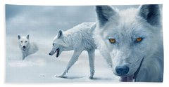 Arctic Wolves Beach Towel by Mal Bray
