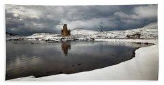 Ardvreck Castle In Winter Beach Sheet