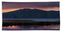 Aregunyats Range And Sevan Lake At Sunset, Armenia Beach Towel