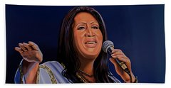 Aretha Franklin Painting Beach Towel by Paul Meijering