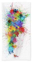 Argentina Paint Splashes Map Beach Towel