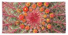 Arizona Barrel Cactus Beach Sheet by Delphimages Photo Creations