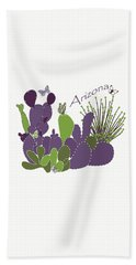 Beach Towel featuring the digital art Arizona Cacti by Methune Hively