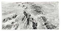 Arizona Desert In Black And White Beach Towel