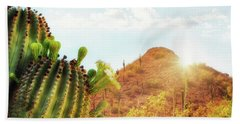 Arizona Desert Scene With Mountain And Cactus Beach Towel