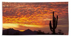 Arizona November Sunrise With Saguaro   Beach Sheet