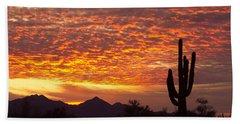 Arizona November Sunrise With Saguaro   Beach Sheet