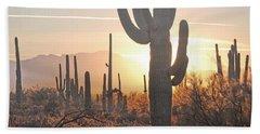 Arizona Saguaro Cactus Sunset Desert Landscape Beach Sheet by Andrea Hazel Ihlefeld