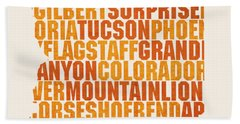 Arizona State Outline Word Map Beach Towel