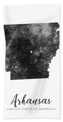 Arkansas State Map Art - Grunge Silhouette Beach Towel