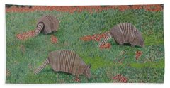Beach Towel featuring the painting Armadillos In The Yard by Hilda and Jose Garrancho