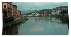Beach Towel featuring the photograph Arno River, Florence, Italy by Mark Czerniec