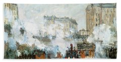Arrival Of A Train Beach Towel by Claude Monet