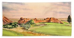 Beach Towel featuring the painting Arrowhead Golf Course Colorado Hole 3 by Bill Holkham
