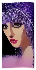 Flapper In Purple Hat Beach Towel by Chuck Staley