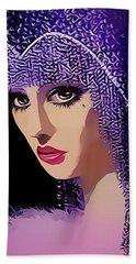 Flapper In Purple Hat Beach Sheet by Chuck Staley