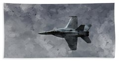 Beach Towel featuring the photograph Art In Flight F-18 Fighter by Aaron Lee Berg