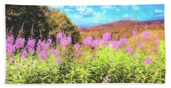 Art Photo Of Vermont Rolling Hills With Pink Flowers In The Foreground Beach Towel